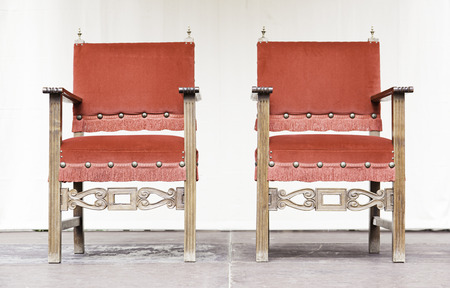 Thrones on an altar, detail of chairs for kings, medieval nobility Stock Photo