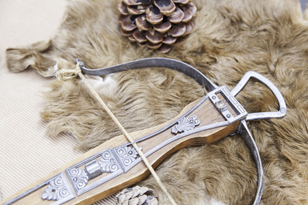 arbalest: Old medieval crossbow, detail of an old gun with arrows, ancient art, weapon of war