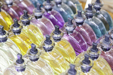 Bottles colony color, detail about glass jars with different flavors photo