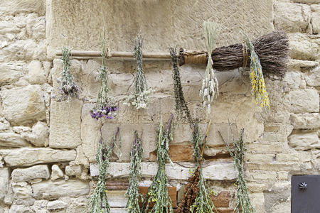 natural health: Medicinal Dried flowers, drying up detail of some plants, natural health remedies Stock Photo