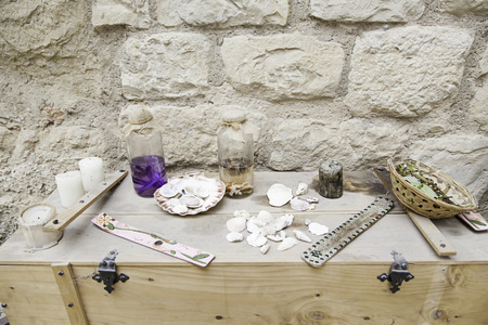 rites: Objects for spells and witchcraft, detail of a table for witchcraft