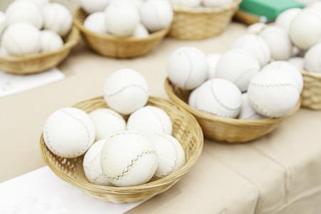 Ball skin handmade, artisan detail baseball balls photo