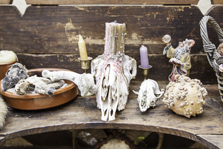 necromancy: Objects for spells and witchcraft, detail of a table for witchcraft