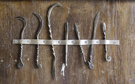 scalpels: Medieval scalpels, detail of antique medical tools