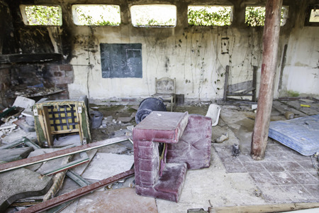Old abandoned room, detail of ruin and neglect, vandalism and crime