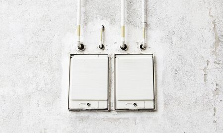 Electrical boxes on the street, detail of an electrical installation photo