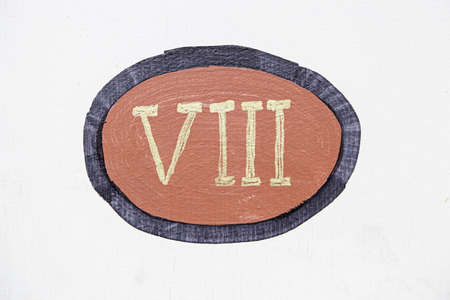roman numerals: Roman Number eight detail about Roman numerals Stock Photo