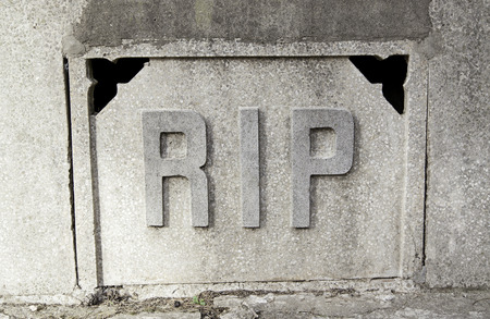 rest in peace: Sign rip in a tomb, detail of a signal in the cemetery, rest in peace