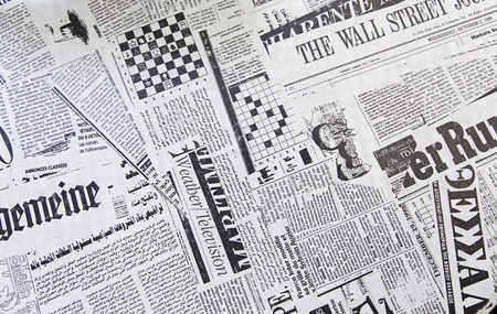 World newspapers, detail of newspapers with news, information and reading