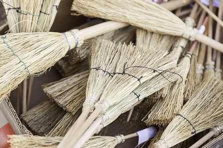 brooms: Witch brooms, detail of a Halloween decoration Stock Photo