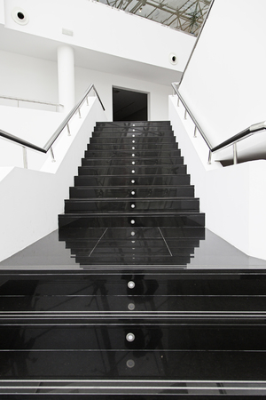 Black marble stairs, detail of a modern escaler