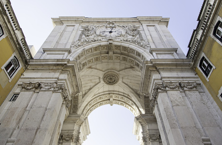 Detail of arch in plaza do comercio, detail of the city of Lisbon, art and tourism