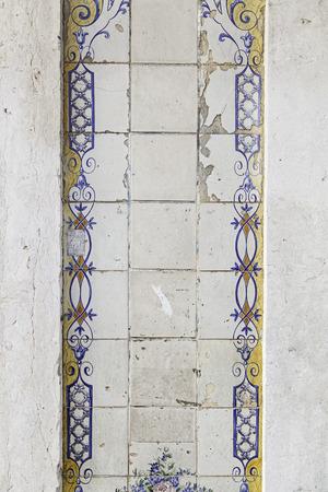 Typical decorative tiles, antique tiles detail Lisbon, art and decoration