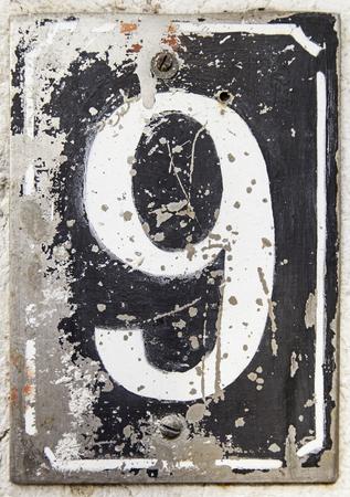 Number nine of information, detail of odd number Stock Photo