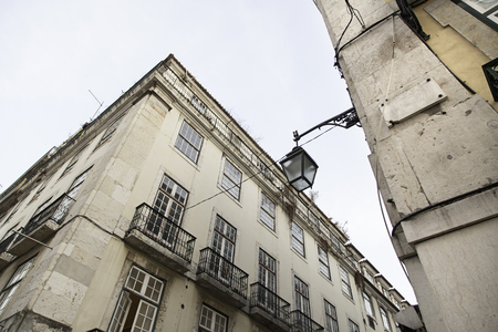 Lisbon old facade, detail of an old street portugal, tourism Stock Photo
