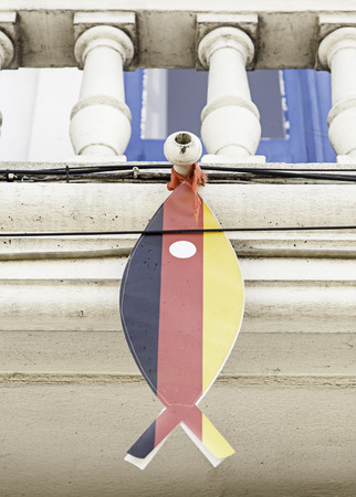 Fish with the flag of Germany, detail of a decoration Stock Photo