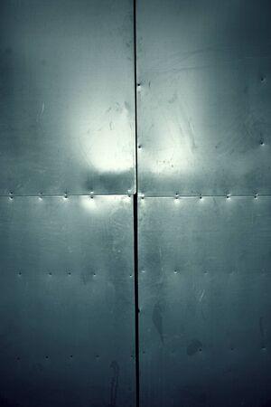 wall mirror: Metal wall mirror, metal decoration detail, steel Stock Photo