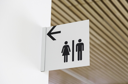 Bathroom sign, detail of an information sign
