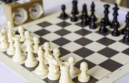 world championships: Chess championship, detail of a championship of intelligence, competition, board game Stock Photo