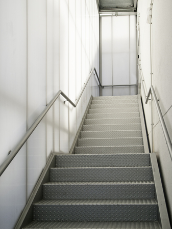 Modern metal staircase, detail of an access staircase, pedestrian, architecture Stock Photo