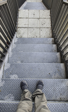 Emergency metal stairs, detail of an access for people Banco de Imagens