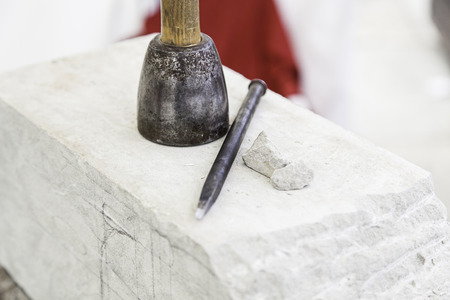 Tools for stone carving, detail of a work craftsman, art and crafts