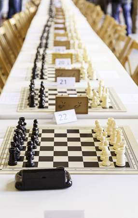Chess in a championship, detail of a game, intelligence and strategy