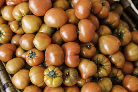 Tomatoes in a market, detail of a vegetable, ecological agriculture