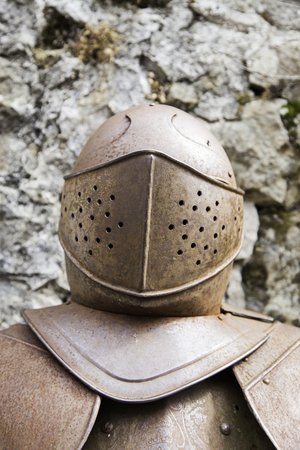 anglo saxon: Medieval armor, detail of an old knight armor Stock Photo