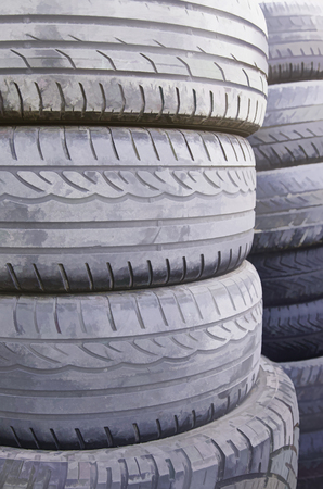 winter tires: Old car wheels, detail of tires, rubber and rubber Stock Photo