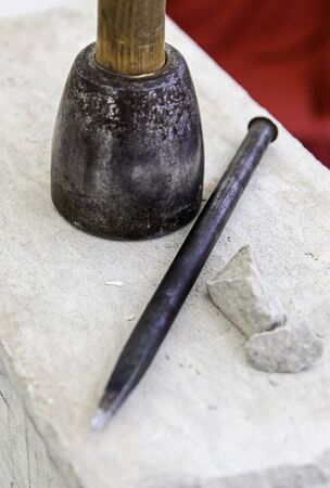 Old tools for stone carving handcrafted, detail of a manual craft