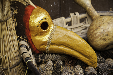 Ancient mask of bird for carnival, detail of classic costume Stock Photo