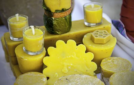 Craft bees wax candles with shapes and smells, detail of traditional crafts, lighting Stock Photo - 83803977