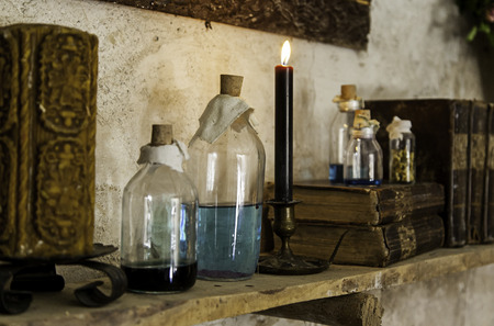 Witchcraft objects to do magic, detail of belief and mystery, fear