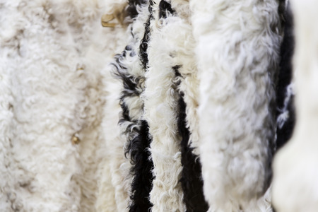 Detail of handmade sheep skins, handmade clothing, protection against the cold Stock Photo