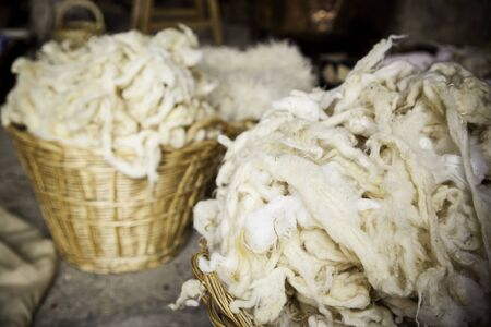 Detail of freshly cut virgin wool, detail of yarn and linen production Stock Photo