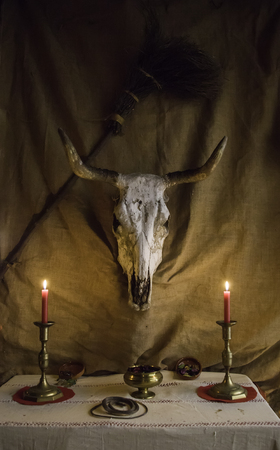 Altar for satanic rituals, witchcraft detail, occultism and sect