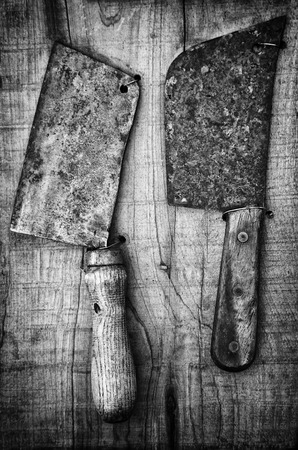 Antique kitchen knives, detail of objects to cut