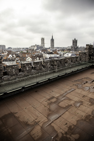 Old building in the city of Ghent, tourism in Europe, Belgium in September
