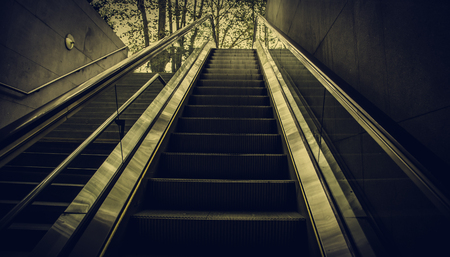 Escalator for people, transport detail in interior Stock fotó