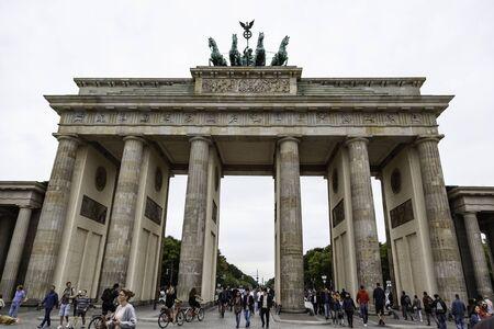 BERLIN, GERMANY - SEPTEMBER 08 2019: The Brandenburg Gate at sunset located in Pariser Platz in the city of Berlin, Germany.