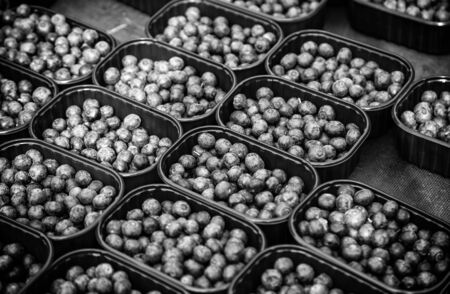 Blueberries in a market, detail of fresh and healthy fruit