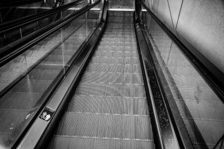 Escalators, subway transport detail, pedestrian access
