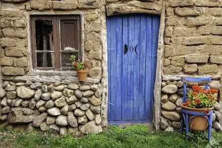Old blue wooden door, decoration and security detail, old door Banco de Imagens