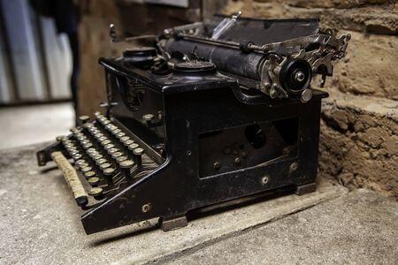 Old typewriter, detail of old writing instrument, keys