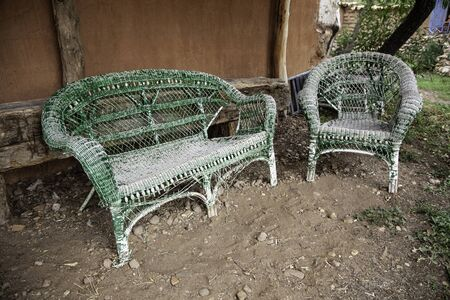 Wicker bench, detail of old benches to sit on