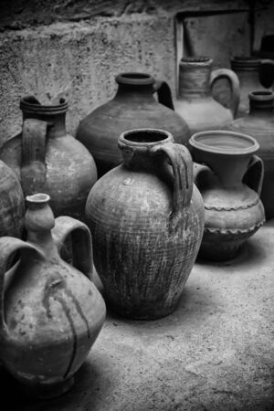 Ancient clay objects, detail of handicraft in cooked clay Banco de Imagens