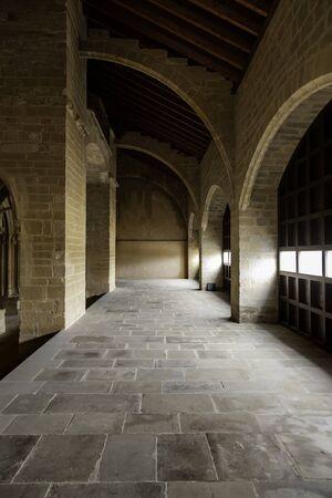 Interior of ancient castle, detail of old medieval building Standard-Bild