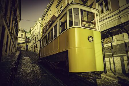 Ancient and Old Lisbon tram, detail of an ancient means of transportation around the city, monument of Lisbon Stock Photo