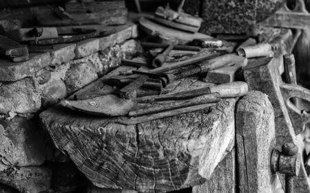 Old carpentry tools, detail of tools for working with wood 版權商用圖片